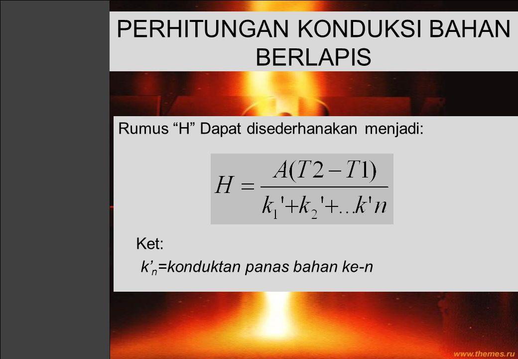 """Rumus """"H"""" Dapat disederhanakan menjadi: Ket: k' n =konduktan panas bahan ke-n PERHITUNGAN KONDUKSI BAHAN BERLAPIS"""