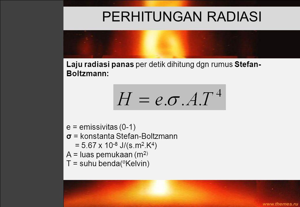 PERHITUNGAN RADIASI Laju radiasi panas per detik dihitung dgn rumus Stefan- Boltzmann: e = emissivitas (0-1) σ = konstanta Stefan-Boltzmann = 5.67 x 1