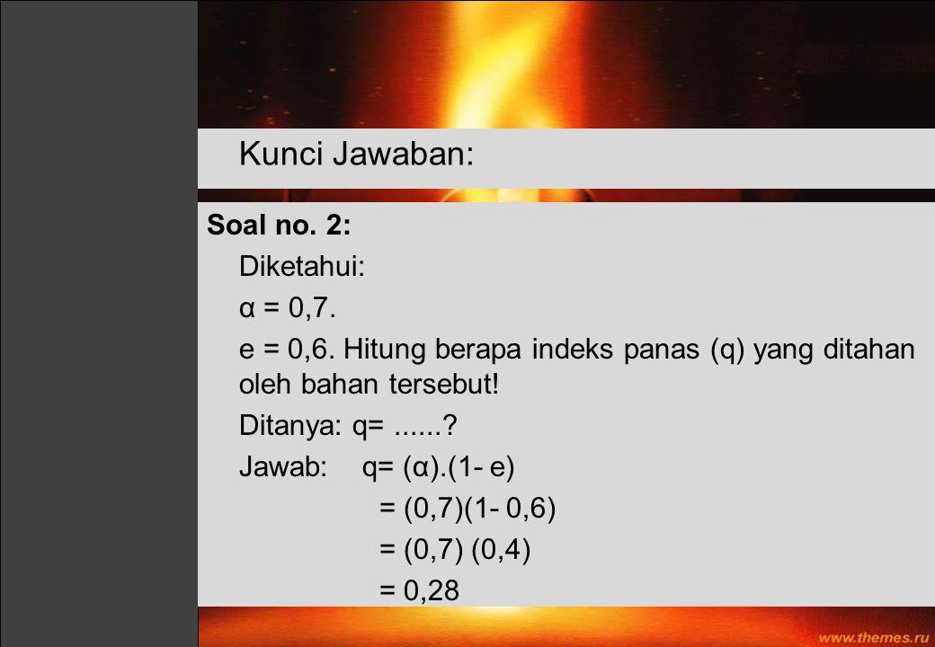 Soal no. 2: Diketahui: α = 0,7. e = 0,6. Hitung berapa indeks panas (q) yang ditahan oleh bahan tersebut! Ditanya: q=......? Jawab: q= (α).(1- e) = (0