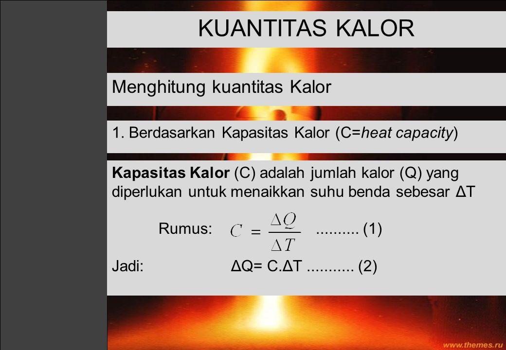 KUANTITAS KALOR Menghitung kuantitas Kalor 1. Berdasarkan Kapasitas Kalor (C=heat capacity) Kapasitas Kalor (C) adalah jumlah kalor (Q) yang diperluka