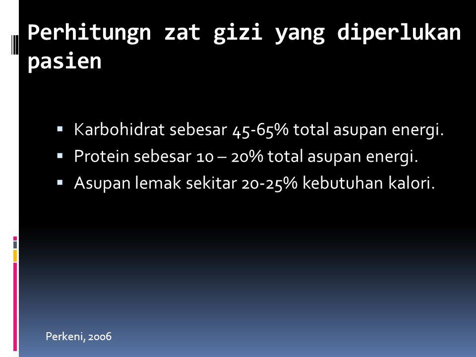  Karbohidrat sebesar 45-65% total asupan energi.  Protein sebesar 10 – 20% total asupan energi.  Asupan lemak sekitar 20-25% kebutuhan kalori. Perh