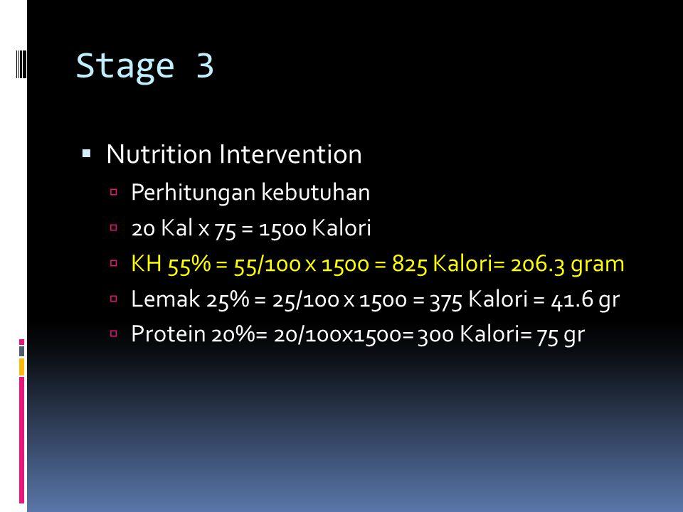 Stage 3  Nutrition Intervention  Perhitungan kebutuhan  20 Kal x 75 = 1500 Kalori  KH 55% = 55/100 x 1500 = 825 Kalori= 206.3 gram  Lemak 25% = 2