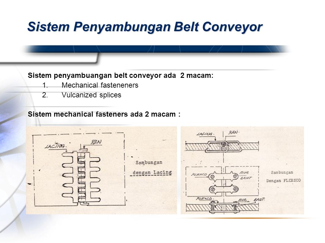 Presented By Harry Mills / PRESENTATIONPRO Sistem Penyambungan Belt Conveyor Sistem penyambuangan belt conveyor ada 2 macam: 1.Mechanical fasteneners