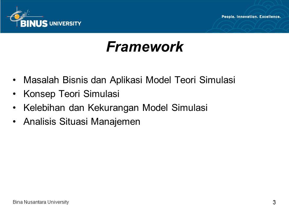 Model Simulasi Model simulasi merupakan salah satu alternatif dalam memecahkan permasalahan bisnis.