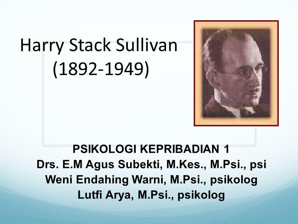 Harry Stack Sullivan (1892-1949) PSIKOLOGI KEPRIBADIAN 1 Drs. E.M Agus Subekti, M.Kes., M.Psi., psi Weni Endahing Warni, M.Psi., psikolog Lutfi Arya,