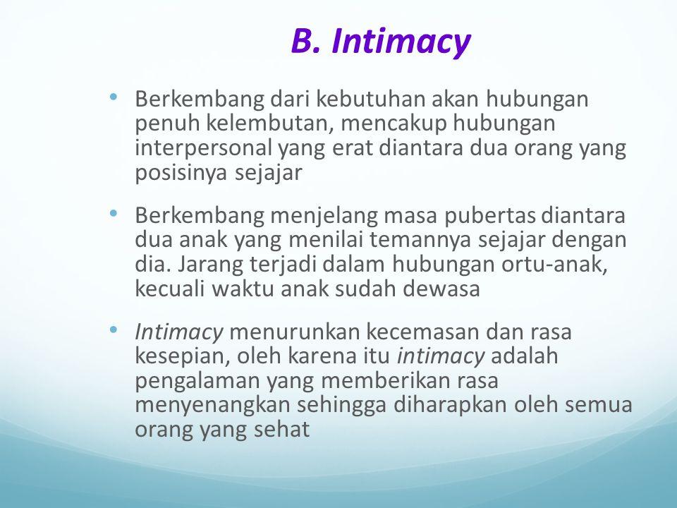 B. Intimacy Berkembang dari kebutuhan akan hubungan penuh kelembutan, mencakup hubungan interpersonal yang erat diantara dua orang yang posisinya seja