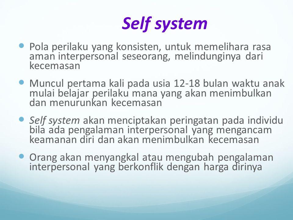 Self system Pola perilaku yang konsisten, untuk memelihara rasa aman interpersonal seseorang, melindunginya dari kecemasan Muncul pertama kali pada us
