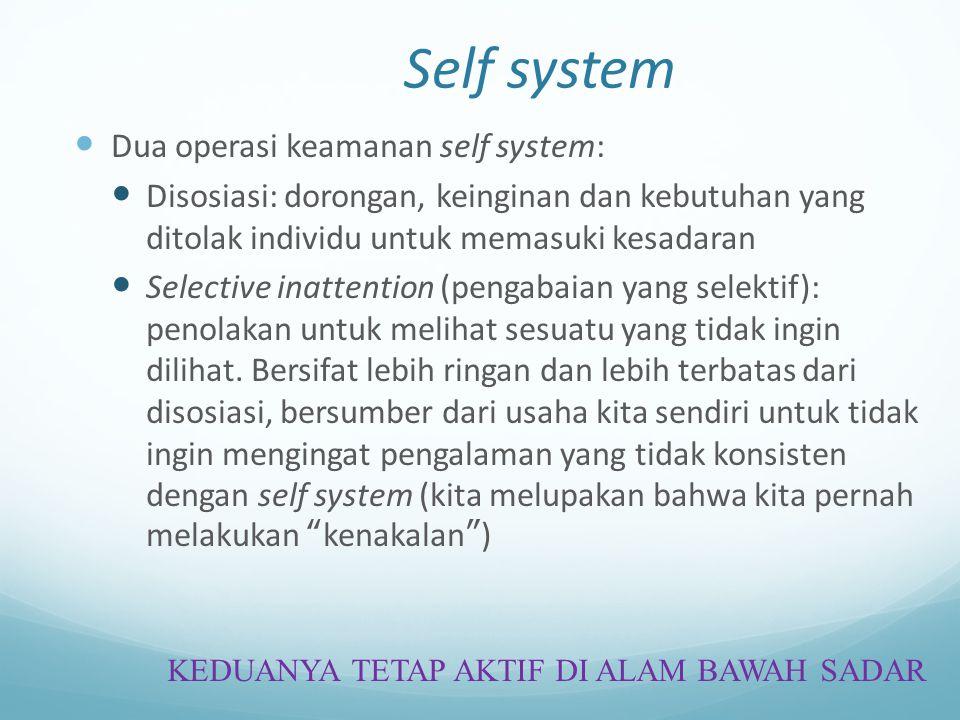 Self system Dua operasi keamanan self system: Disosiasi: dorongan, keinginan dan kebutuhan yang ditolak individu untuk memasuki kesadaran Selective in