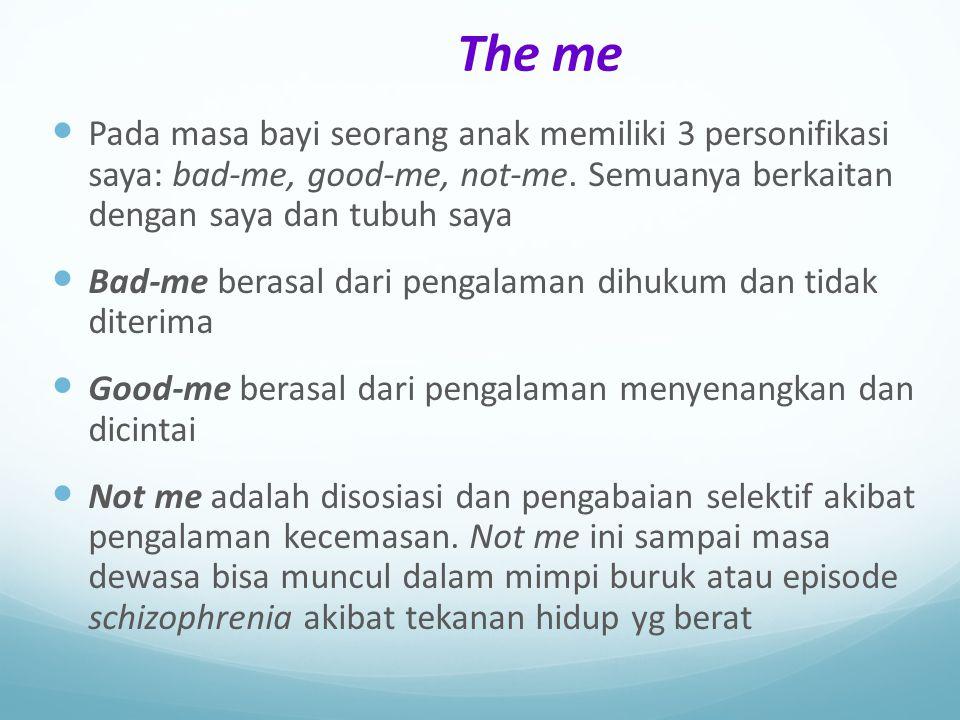 The me Pada masa bayi seorang anak memiliki 3 personifikasi saya: bad-me, good-me, not-me. Semuanya berkaitan dengan saya dan tubuh saya Bad-me berasa