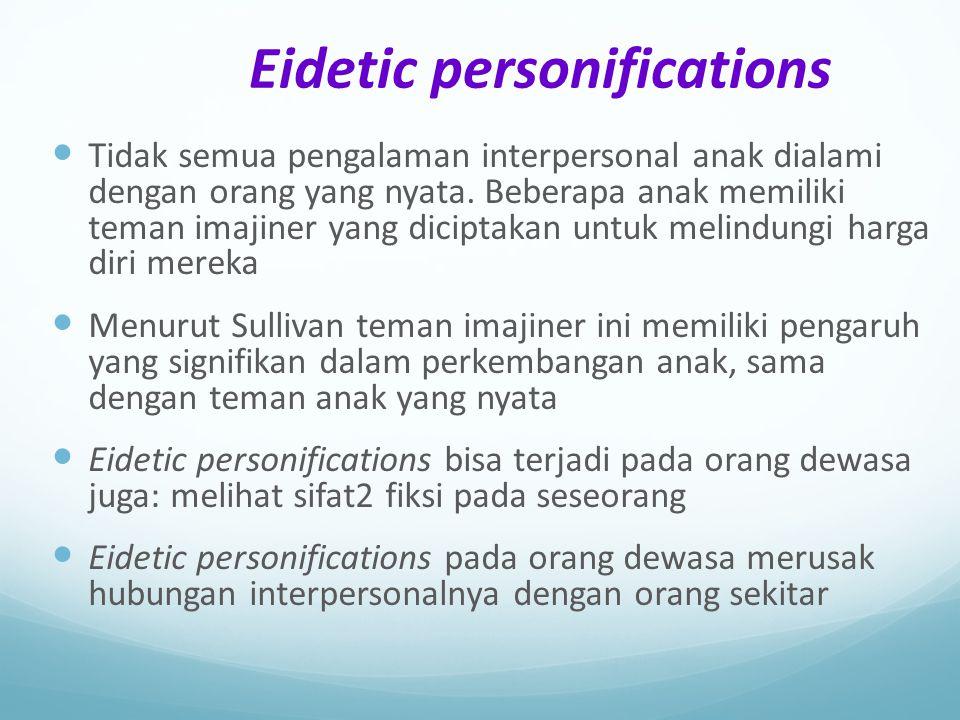 Eidetic personifications Tidak semua pengalaman interpersonal anak dialami dengan orang yang nyata. Beberapa anak memiliki teman imajiner yang dicipta