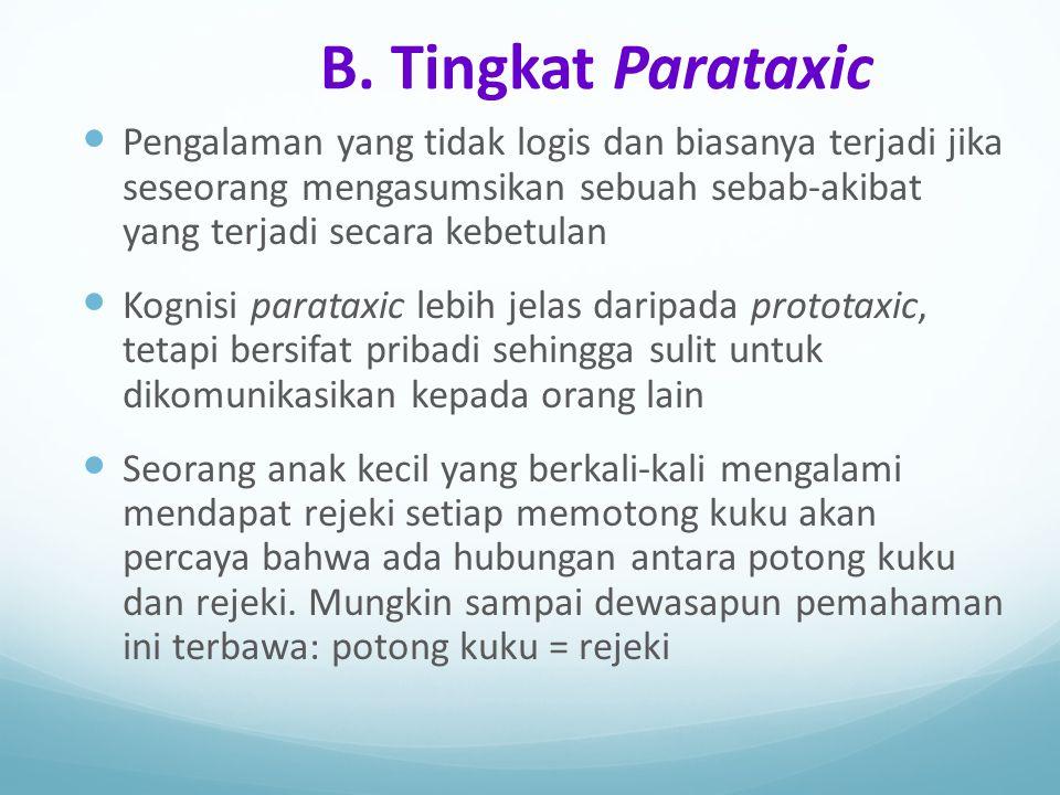 B. Tingkat Parataxic Pengalaman yang tidak logis dan biasanya terjadi jika seseorang mengasumsikan sebuah sebab-akibat yang terjadi secara kebetulan K