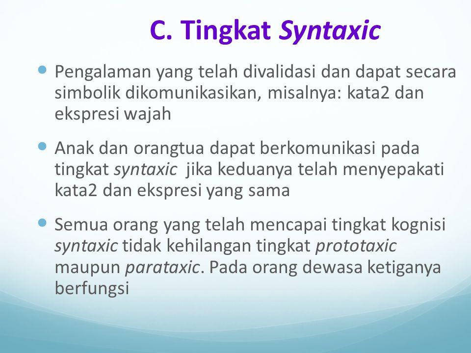 C. Tingkat Syntaxic Pengalaman yang telah divalidasi dan dapat secara simbolik dikomunikasikan, misalnya: kata2 dan ekspresi wajah Anak dan orangtua d