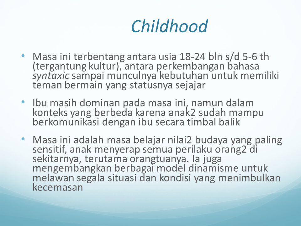 Childhood Masa ini terbentang antara usia 18-24 bln s/d 5-6 th (tergantung kultur), antara perkembangan bahasa syntaxic sampai munculnya kebutuhan unt