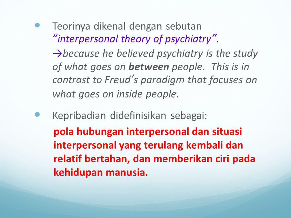 """Teorinya dikenal dengan sebutan """"interpersonal theory of psychiatry"""". →because he believed psychiatry is the study of what goes on between people. Thi"""