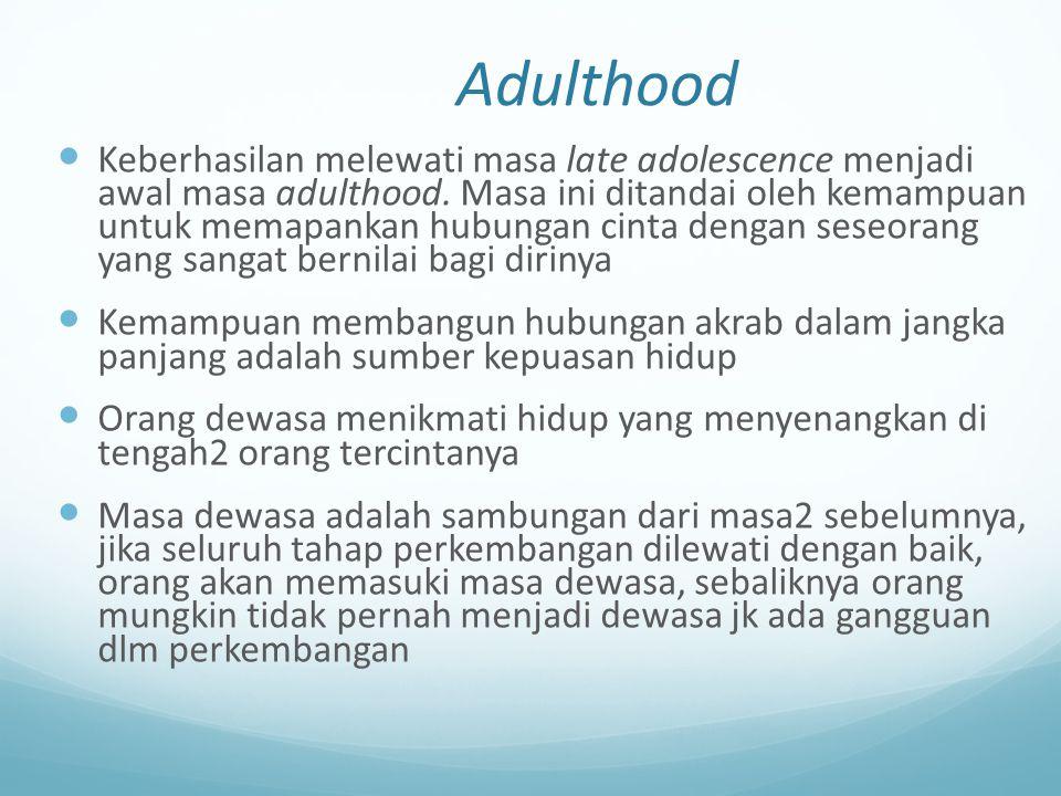 Adulthood Keberhasilan melewati masa late adolescence menjadi awal masa adulthood. Masa ini ditandai oleh kemampuan untuk memapankan hubungan cinta de