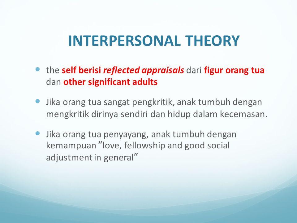 INTERPERSONAL THEORY the self berisi reflected appraisals dari figur orang tua dan other significant adults Jika orang tua sangat pengkritik, anak tum