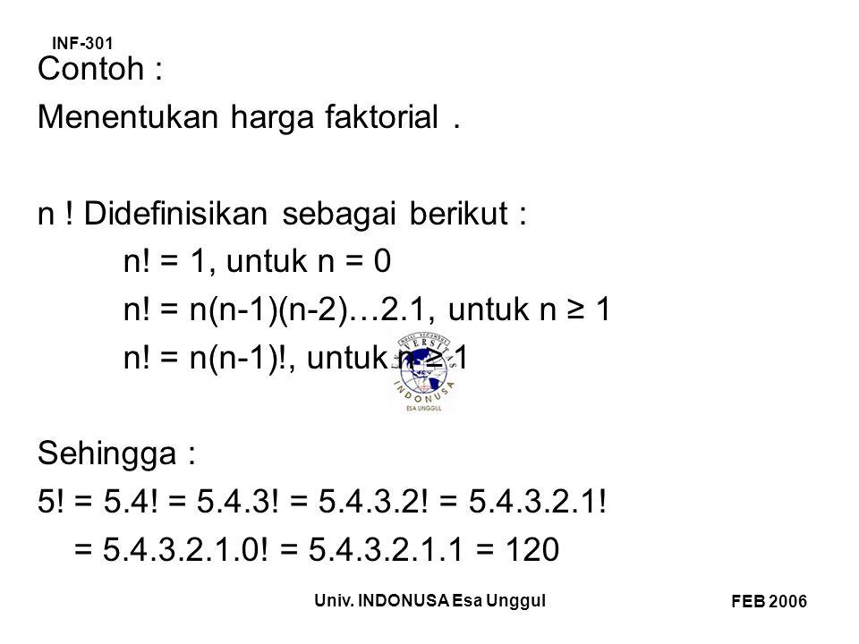 INF-301 FEB 2006 Univ. INDONUSA Esa Unggul Contoh : Menentukan harga faktorial.