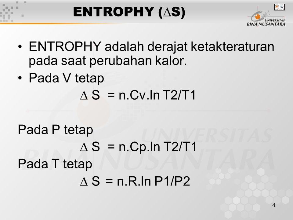 4 ENTROPHY (  S) ENTROPHY adalah derajat ketakteraturan pada saat perubahan kalor.