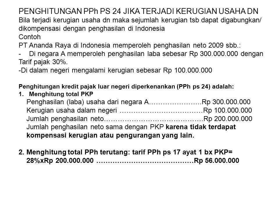 PENGHITUNGAN PPh PS 24 JIKA TERJADI KERUGIAN USAHA DN Bila terjadi kerugian usaha dn maka sejumlah kerugian tsb dapat digabungkan/ dikompensasi dengan penghasilan di Indonesia Contoh PT Ananda Raya di Indonesia memperoleh penghasilan neto 2009 sbb.: -Di negara A memperoleh penghasilan laba sebesar Rp 300.000.000 dengan Tarif pajak 30%.
