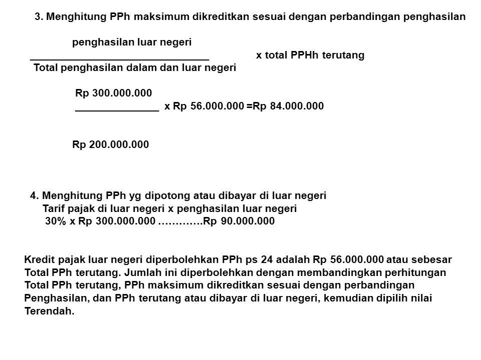 3. Menghitung PPh maksimum dikreditkan sesuai dengan perbandingan penghasilan penghasilan luar negeri ______________________________ x total PPHh teru