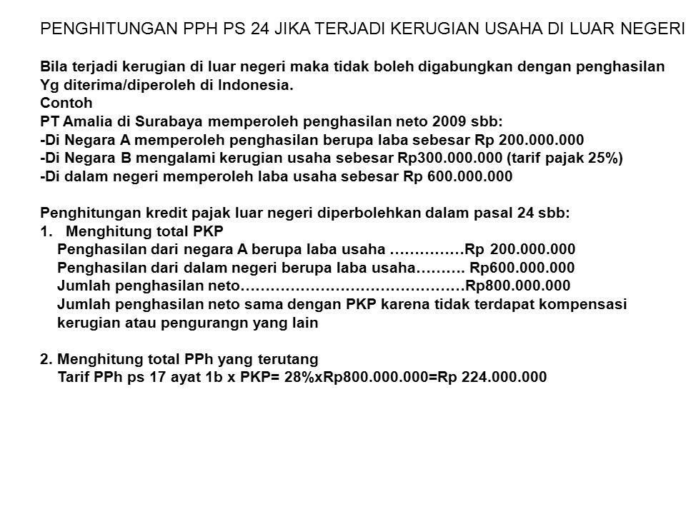 PENGHITUNGAN PPH PS 24 JIKA TERJADI KERUGIAN USAHA DI LUAR NEGERI Bila terjadi kerugian di luar negeri maka tidak boleh digabungkan dengan penghasilan Yg diterima/diperoleh di Indonesia.