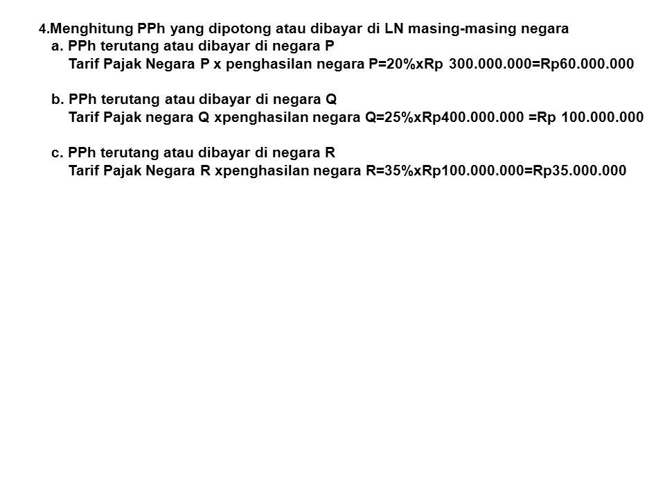 4. Menghitung PPh yang dipotong atau dibayar di LN masing-masing negara a. PPh terutang atau dibayar di negara P Tarif Pajak Negara P x penghasilan ne
