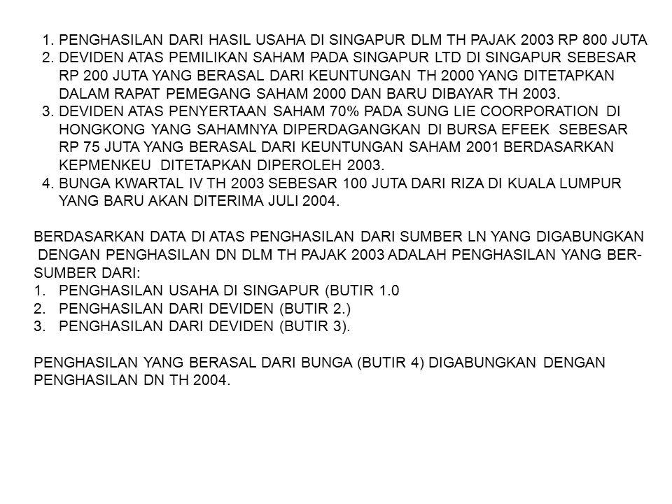 1.PENGHASILAN DARI HASIL USAHA DI SINGAPUR DLM TH PAJAK 2003 RP 800 JUTA 2.