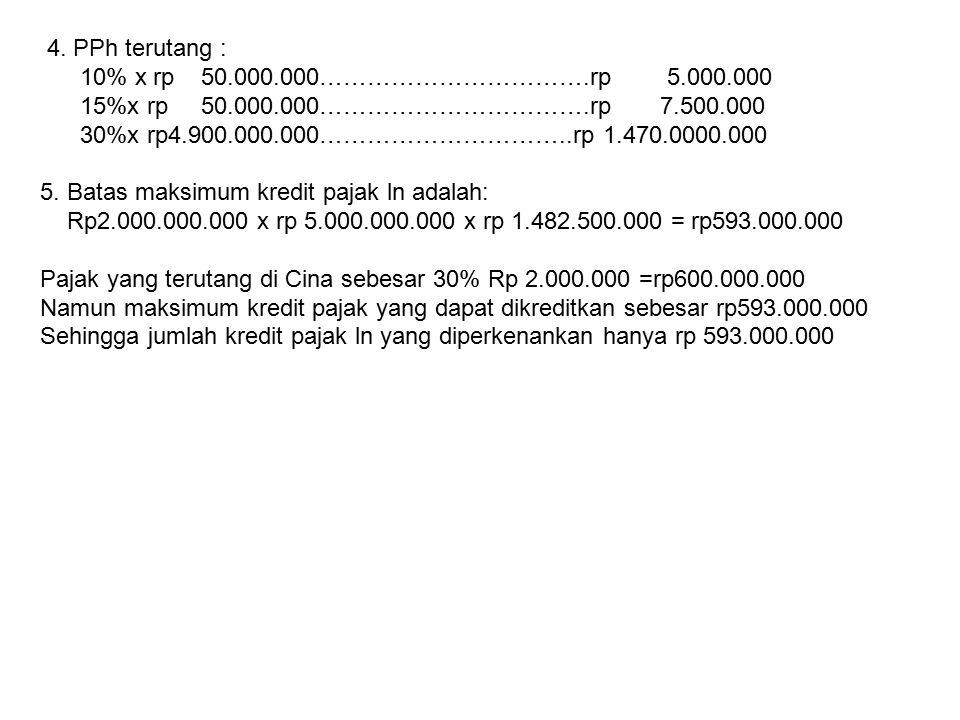 4. PPh terutang : 10% x rp 50.000.000…………………………….rp 5.000.000 15%x rp 50.000.000…………………………….rp 7.500.000 30%x rp4.900.000.000…………………………..rp 1.470.0000