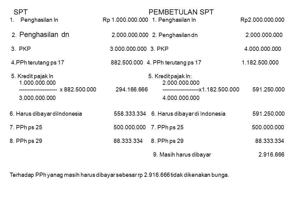 SPT PEMBETULAN SPT 1.Penghasilan ln Rp 1.000.000.000 1. Penghasilan ln Rp2.000.000.000 2. Penghasilan dn 2.000.000.000 2. Penghasilan dn 2.000.000.000