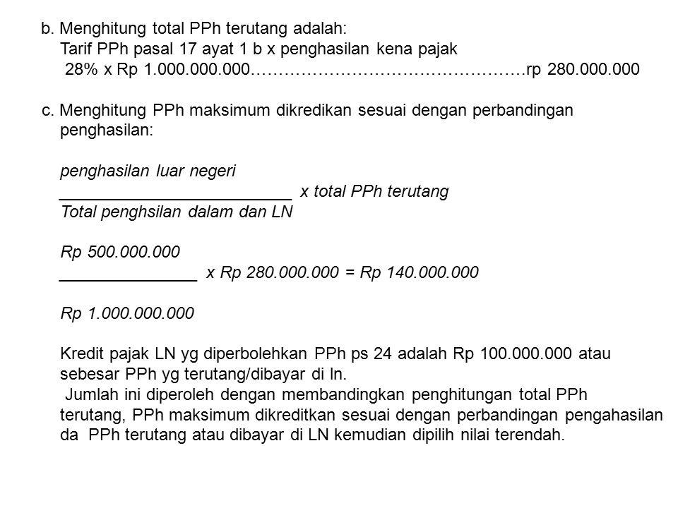 b. Menghitung total PPh terutang adalah: Tarif PPh pasal 17 ayat 1 b x penghasilan kena pajak 28% x Rp 1.000.000.000………………………………………….rp 280.000.000 c.