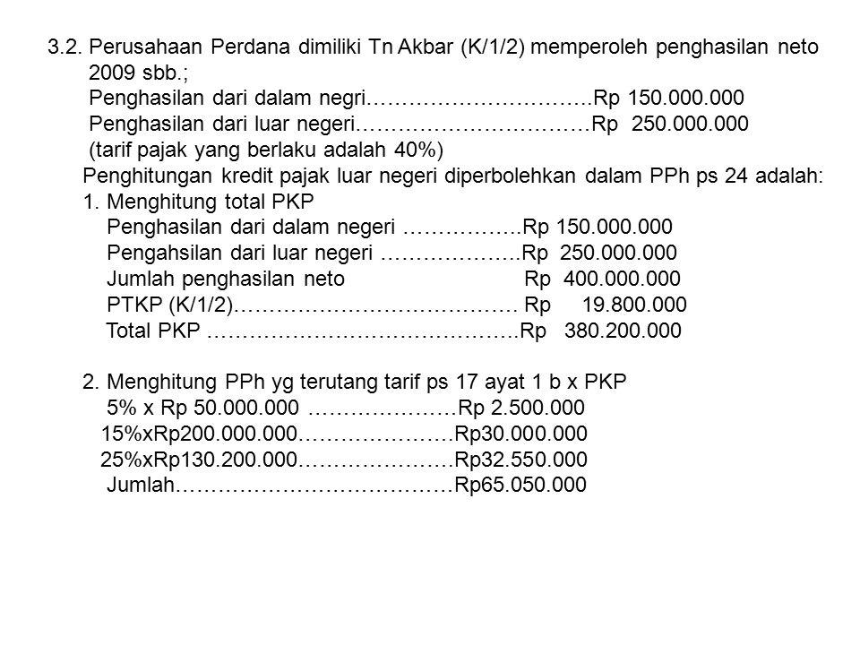 3.2. Perusahaan Perdana dimiliki Tn Akbar (K/1/2) memperoleh penghasilan neto 2009 sbb.; Penghasilan dari dalam negri…………………………..Rp 150.000.000 Pengha