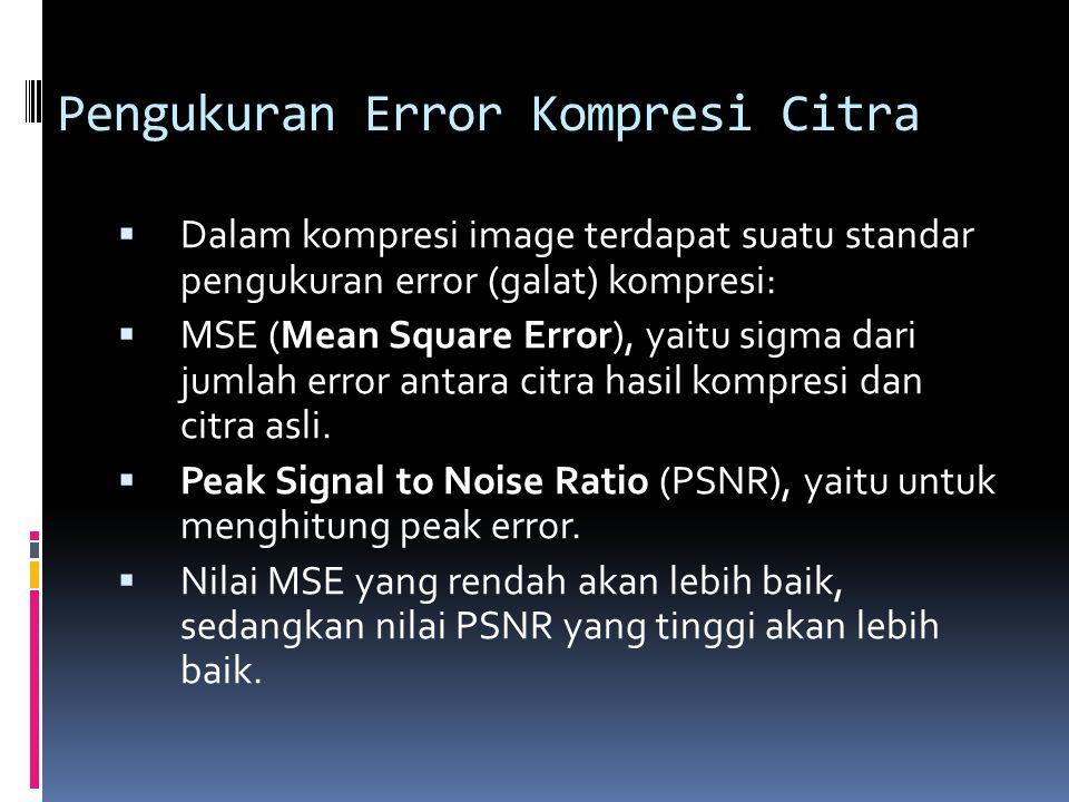Pengukuran Error Kompresi Citra  Dalam kompresi image terdapat suatu standar pengukuran error (galat) kompresi:  MSE (Mean Square Error), yaitu sigm