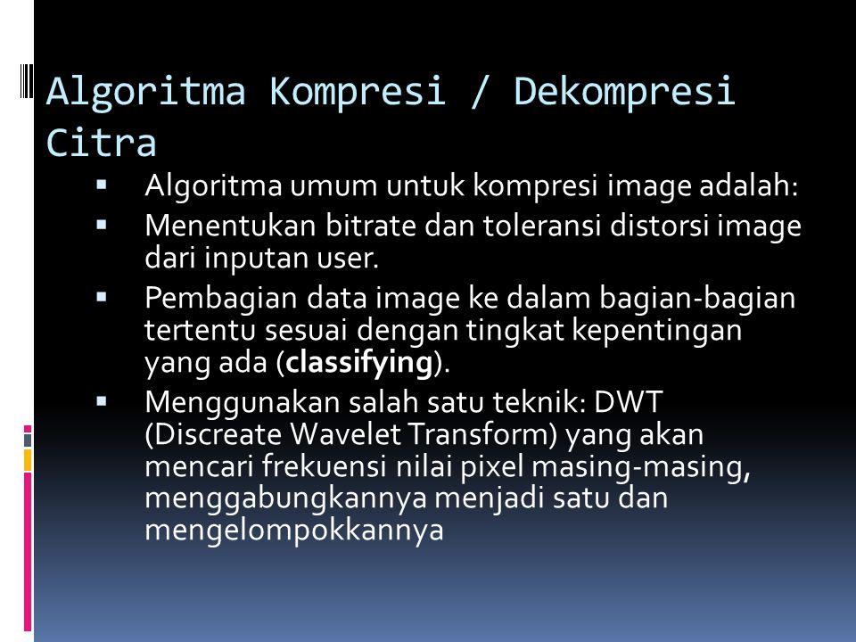Algoritma Kompresi / Dekompresi Citra  Algoritma umum untuk kompresi image adalah:  Menentukan bitrate dan toleransi distorsi image dari inputan use
