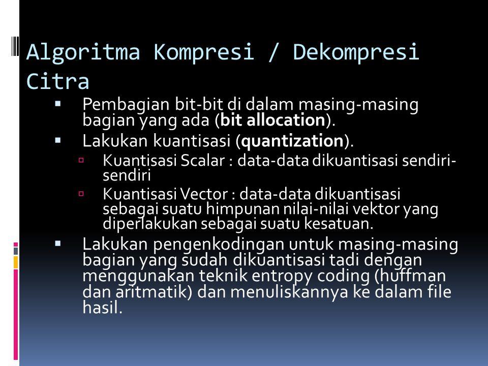 Algoritma Kompresi / Dekompresi Citra  Pembagian bit-bit di dalam masing-masing bagian yang ada (bit allocation).  Lakukan kuantisasi (quantization)