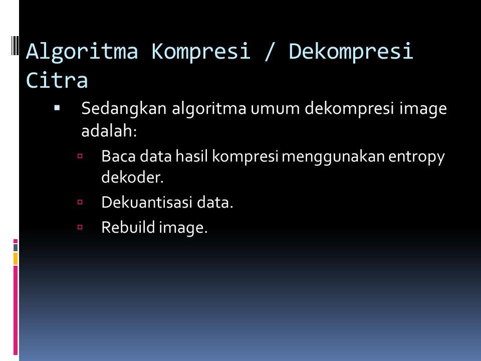 Algoritma Kompresi / Dekompresi Citra  Sedangkan algoritma umum dekompresi image adalah:  Baca data hasil kompresi menggunakan entropy dekoder.  De