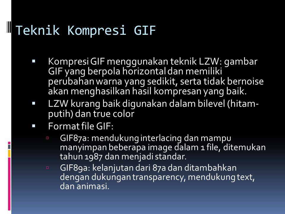 Teknik Kompresi GIF  Kompresi GIF menggunakan teknik LZW: gambar GIF yang berpola horizontal dan memiliki perubahan warna yang sedikit, serta tidak b