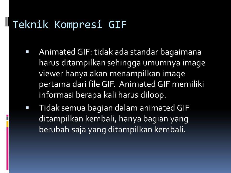 Teknik Kompresi GIF  Animated GIF: tidak ada standar bagaimana harus ditampilkan sehingga umumnya image viewer hanya akan menampilkan image pertama d