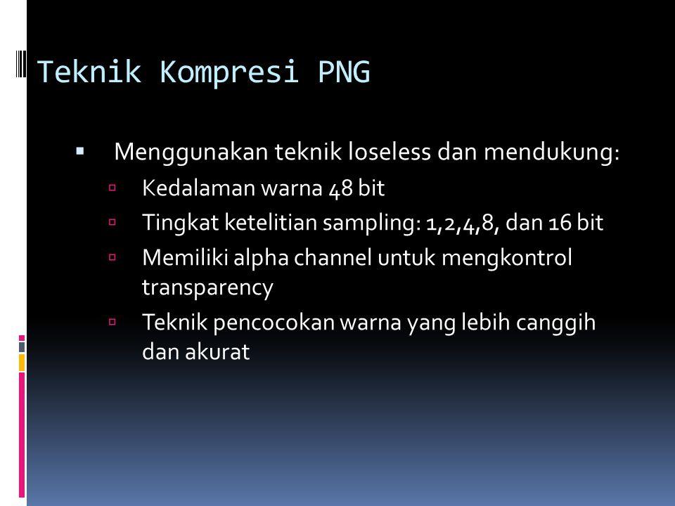 Teknik Kompresi PNG  Menggunakan teknik loseless dan mendukung:  Kedalaman warna 48 bit  Tingkat ketelitian sampling: 1,2,4,8, dan 16 bit  Memilik