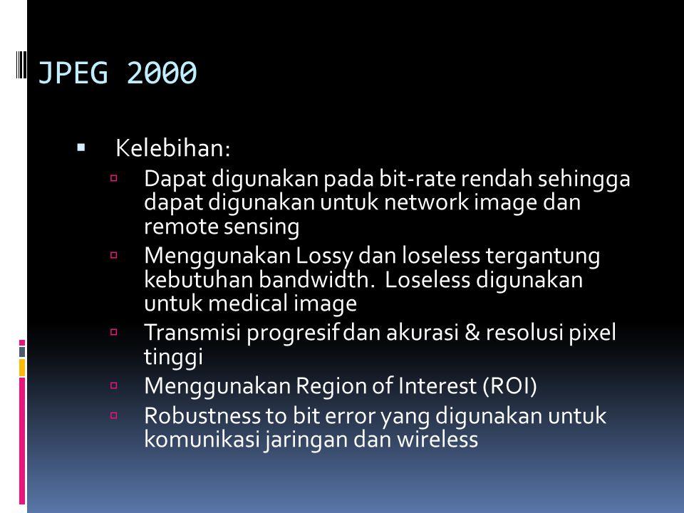 JPEG 2000  Kelebihan:  Dapat digunakan pada bit-rate rendah sehingga dapat digunakan untuk network image dan remote sensing  Menggunakan Lossy dan