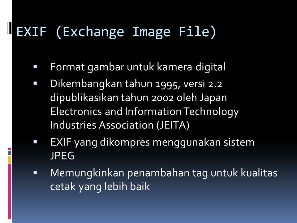 EXIF (Exchange Image File)  Format gambar untuk kamera digital  Dikembangkan tahun 1995, versi 2.2 dipublikasikan tahun 2002 oleh Japan Electronics