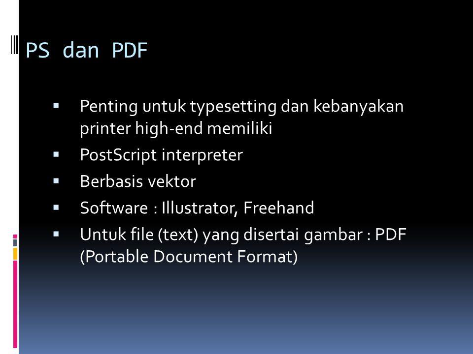 PS dan PDF  Penting untuk typesetting dan kebanyakan printer high-end memiliki  PostScript interpreter  Berbasis vektor  Software : Illustrator, F