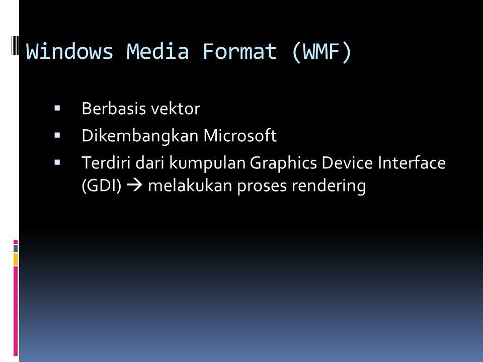 Windows Media Format (WMF)  Berbasis vektor  Dikembangkan Microsoft  Terdiri dari kumpulan Graphics Device Interface (GDI)  melakukan proses rende