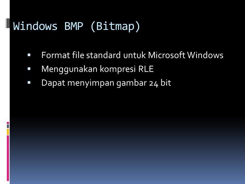 Windows BMP (Bitmap)  Format file standard untuk Microsoft Windows  Menggunakan kompresi RLE  Dapat menyimpan gambar 24 bit