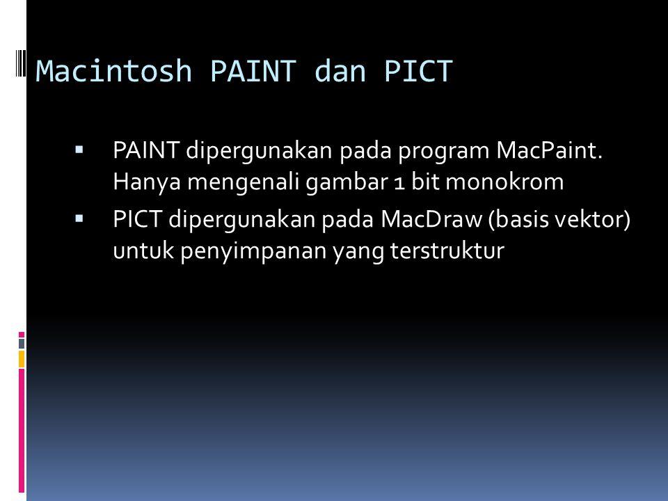 Macintosh PAINT dan PICT  PAINT dipergunakan pada program MacPaint. Hanya mengenali gambar 1 bit monokrom  PICT dipergunakan pada MacDraw (basis vek