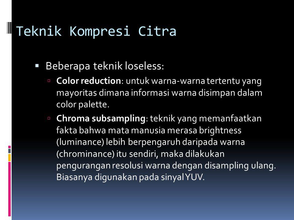 Teknik Kompresi Citra  Beberapa teknik loseless:  Color reduction: untuk warna-warna tertentu yang mayoritas dimana informasi warna disimpan dalam c