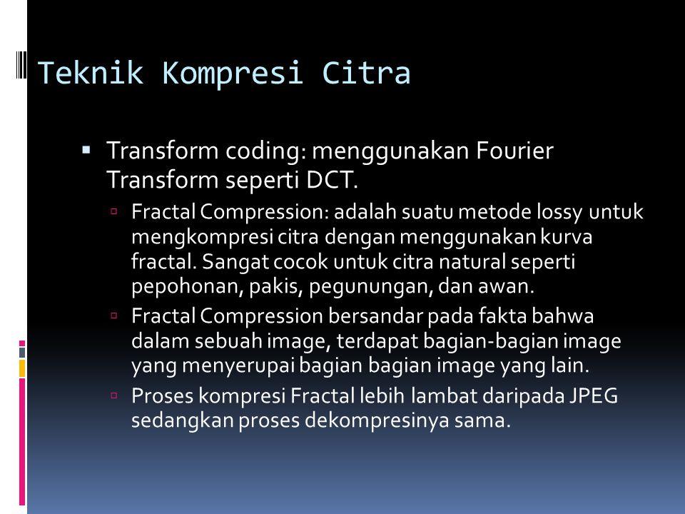 Teknik Kompresi Citra  Transform coding: menggunakan Fourier Transform seperti DCT.  Fractal Compression: adalah suatu metode lossy untuk mengkompre