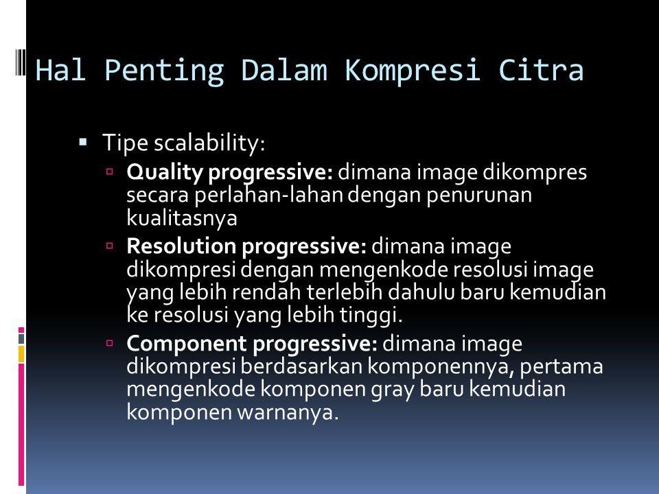 Hal Penting Dalam Kompresi Citra  Tipe scalability:  Quality progressive: dimana image dikompres secara perlahan-lahan dengan penurunan kualitasnya