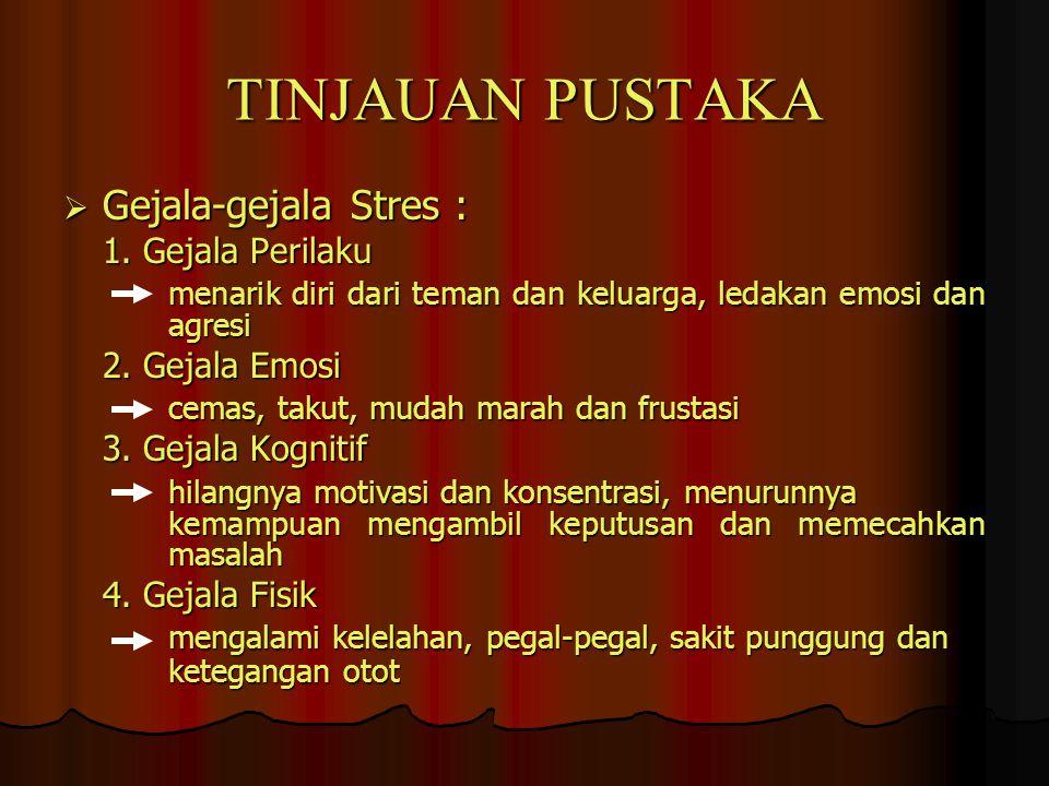TINJAUAN PUSTAKA  Gejala-gejala Stres : 1. Gejala Perilaku menarik diri dari teman dan keluarga, ledakan emosi dan agresi 2. Gejala Emosi cemas, taku