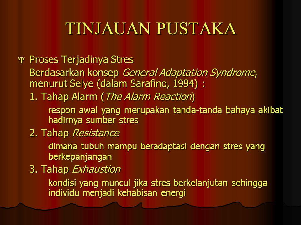 TINJAUAN PUSTAKA  Proses Terjadinya Stres Berdasarkan konsep General Adaptation Syndrome, menurut Selye (dalam Sarafino, 1994) : 1. Tahap Alarm (The