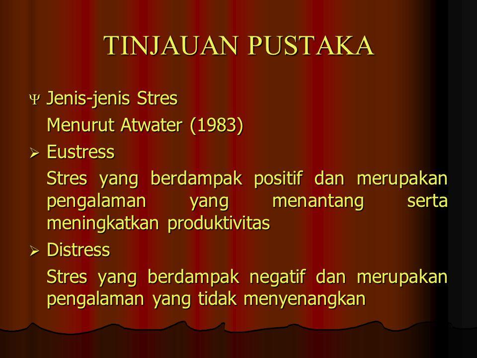 TINJAUAN PUSTAKA  Jenis-jenis Stres Menurut Atwater (1983)  Eustress Stres yang berdampak positif dan merupakan pengalaman yang menantang serta meni